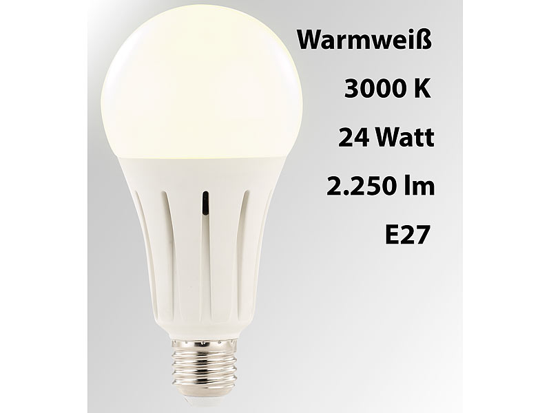 Luminea Led Gluhbirne High Power Led Lampe E27 24 Watt 2 250