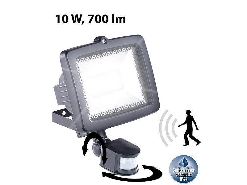 luminea led fluter f r den au enbereich 10 watt 700 lumen pir sensor ip44. Black Bedroom Furniture Sets. Home Design Ideas