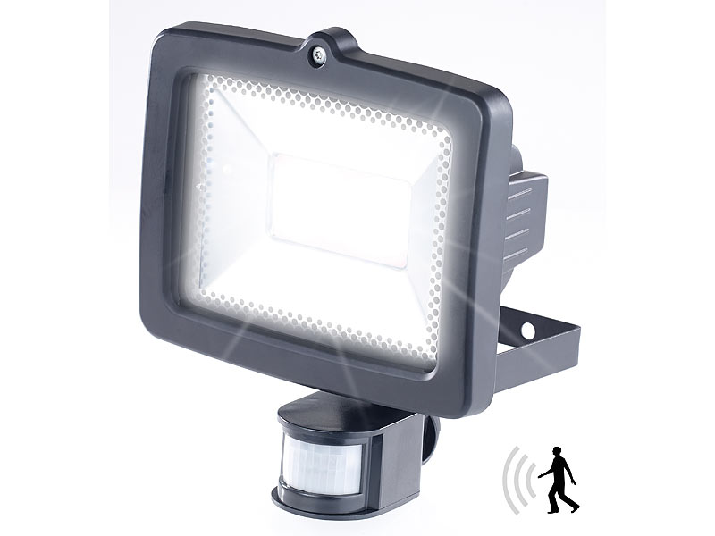 luminea strahler mit led lampen led fluter f r den au enbereich 10 watt 700 lumen pir sensor. Black Bedroom Furniture Sets. Home Design Ideas