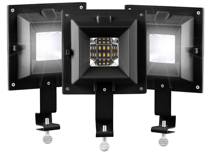 lunartec garten licht 3er set solar led dachrinnenleuchten 6 smd leds 20 lm ip44 schwarz. Black Bedroom Furniture Sets. Home Design Ideas