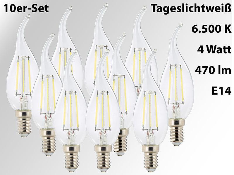 LED-Filament-Kerze, Ba35, E14, 470 lm, 4 W, 360°, 6.500 K, 10er-Set