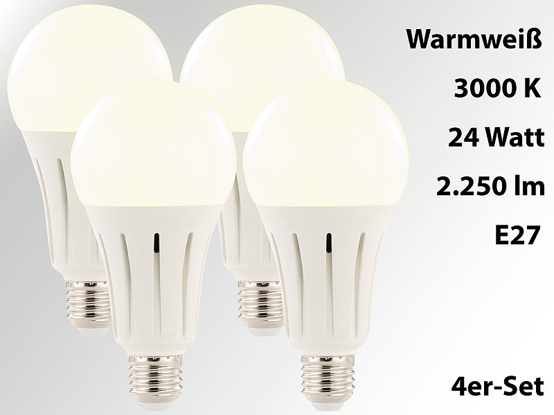 High-Power-LED-Lampe E27, 24 Watt, 2.250 Lumen, 3000 K, 4er-Set