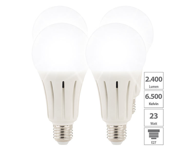 High-Power-LED-Lampe E27, 24 Watt, 2.452 Lumen,  6.500 K, 4er-Set