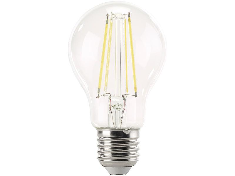 luminea e27 led filament birne led filament lampe 806 lumen 6 watt kelvin a60 e27. Black Bedroom Furniture Sets. Home Design Ideas