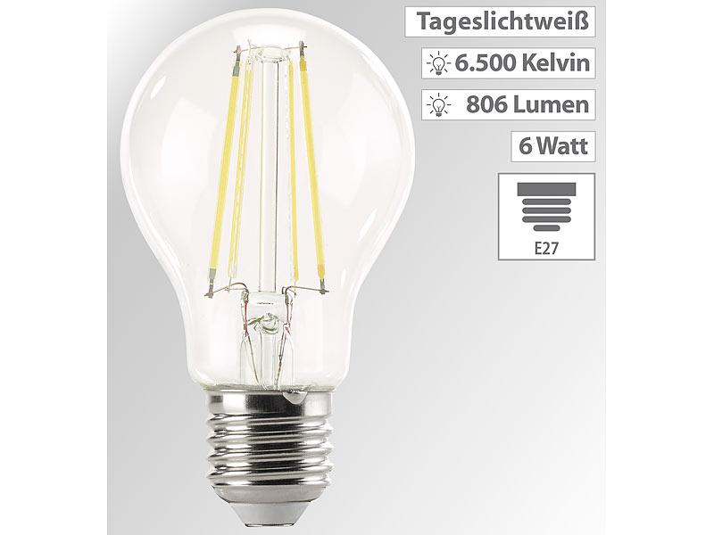 luminea lampe mit tageslicht led filament lampe 806 lumen 6 watt kelvin a60 e27 360. Black Bedroom Furniture Sets. Home Design Ideas