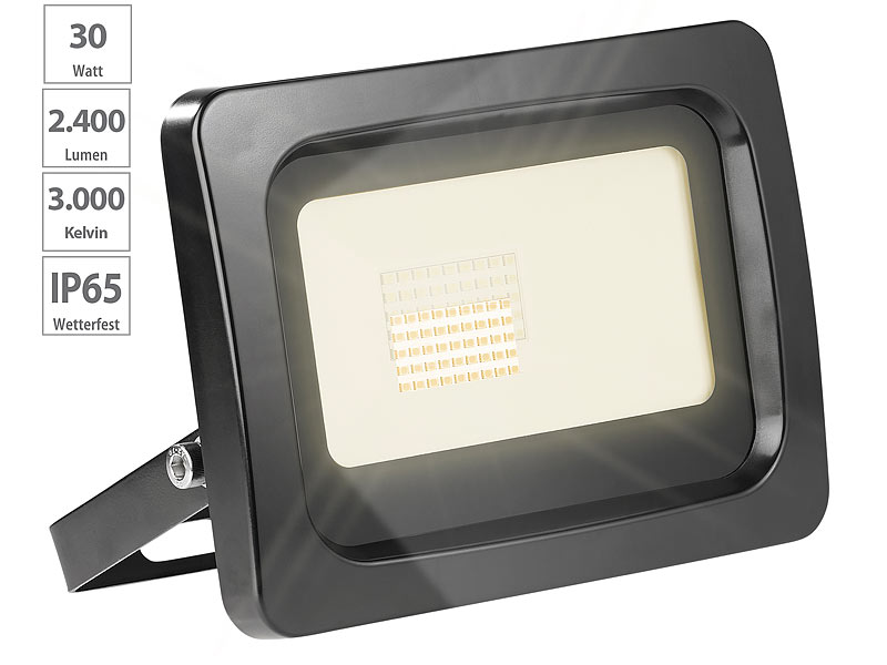luminea led strahler warmweiss wetterfester led fluter 30 watt lumen ip65 k. Black Bedroom Furniture Sets. Home Design Ideas