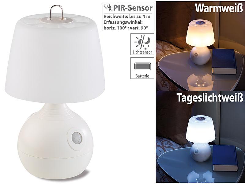 Tischlampe Batterie: Lunartec LED Tischlampe, PIR  U0026 Licht Sensor, Warmweiß