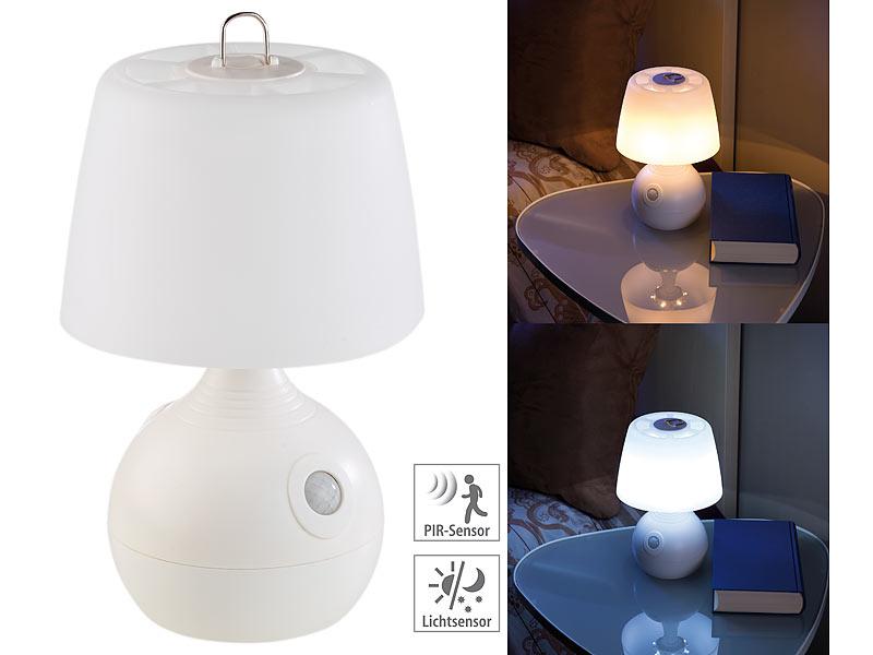lunartec led tischlampe pir licht sensor warmwei tageslichtwei 30 lm. Black Bedroom Furniture Sets. Home Design Ideas