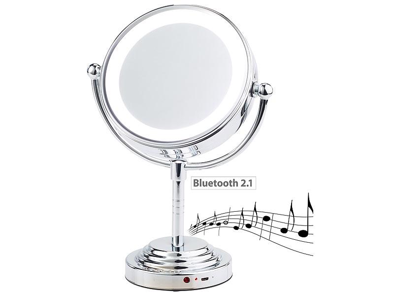 Badspiegel LED Beleuchtung LED-Uhr Bluetooth Makeup Kosmetikspiegel