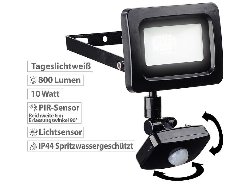 LED 10 Watt Außen Strahler Wand Leuchte schwenkbar IP44 Baustrahler 6500 Kelvin