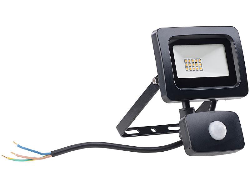 luminea strahler mit led lampen mini led fluter pir bewegungssensor 10 watt 800 lm warmwei. Black Bedroom Furniture Sets. Home Design Ideas