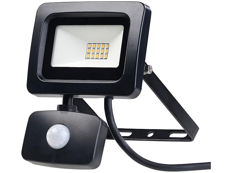 luminea eingangs lampen mini led fluter pir bewegungssensor 10 watt 800 lm warmwei ip44. Black Bedroom Furniture Sets. Home Design Ideas