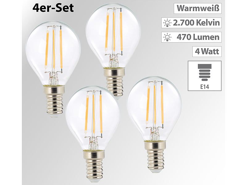 led gl hlampen led filament tropfen g45 e14 470 lm 4 w 360 warmwei 4er set led birnen. Black Bedroom Furniture Sets. Home Design Ideas