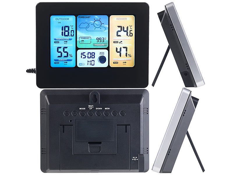 infactory wlan thermometer wlan funk wetterstation mit. Black Bedroom Furniture Sets. Home Design Ideas