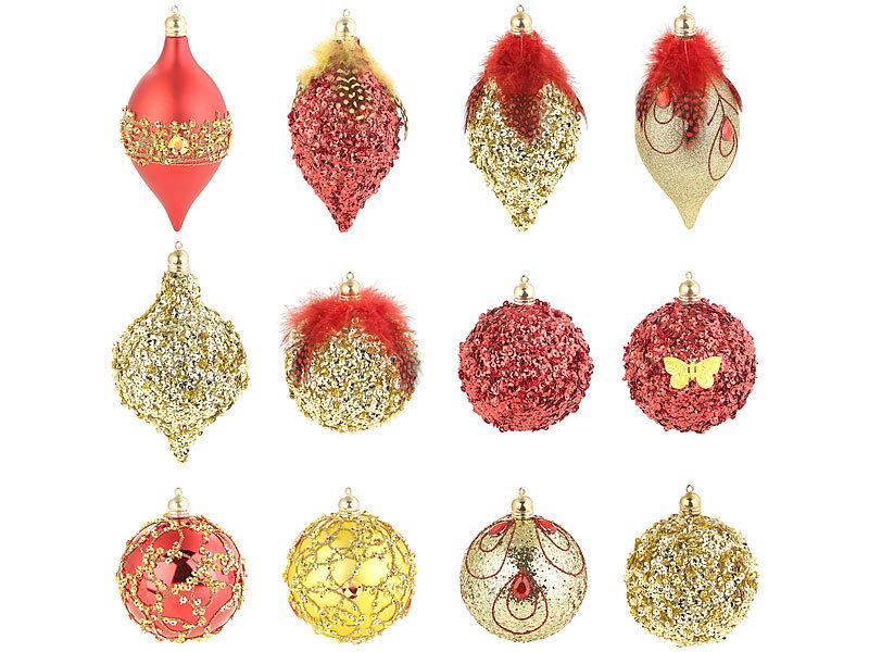 Infactory Weihnachtsbaumkugeln 12er Set Weihnachtsbaum Kugeln Mit