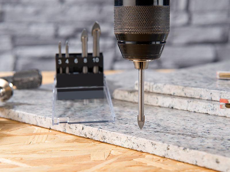 agt professional fliesenbohrer 5 teiliges bohrer set f r glas fliesen 4 5 6 8 10 mm. Black Bedroom Furniture Sets. Home Design Ideas