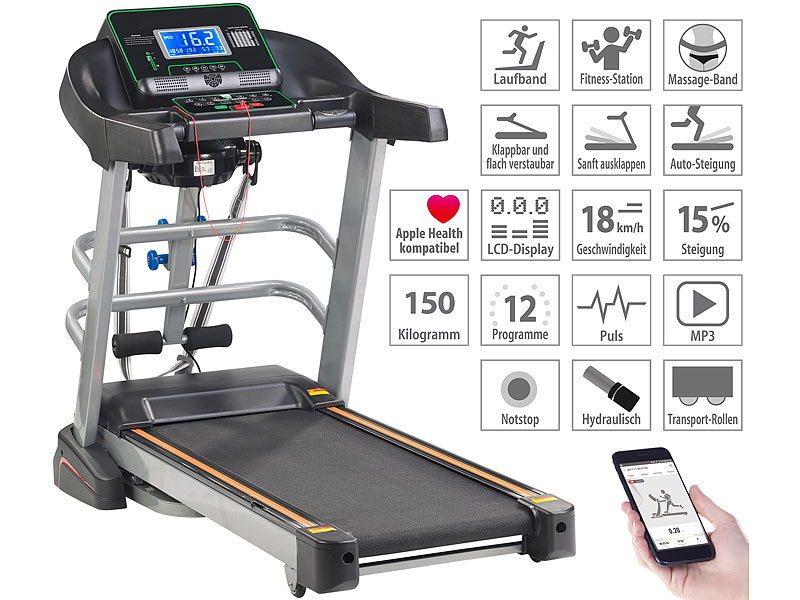Profi-Laufband & Fitness-Station, App, Bluetooth, 18 km/h, 1.865 Watt