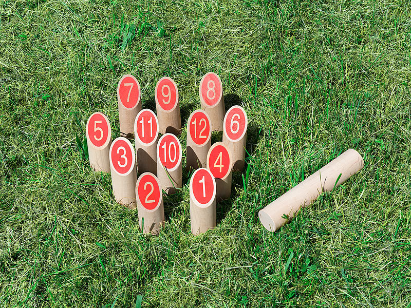 Playtastic Outdoor Spiele Holz Wikinger Kegel Spiel Aus Massivholz