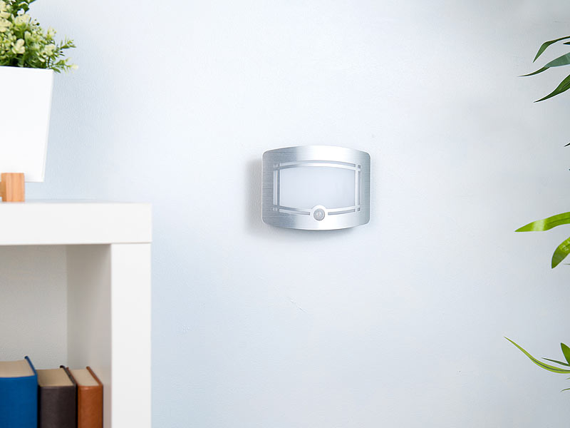 lunartec nachtleuchte 2 stufige batterie led wandleuchte bewegungs lichtsensor 40 lm. Black Bedroom Furniture Sets. Home Design Ideas