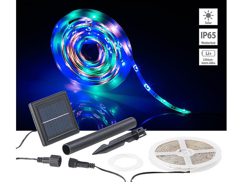 lunartec solar led band solar led streifen 90 leds in pink gr n blau 3 m wetterfest ip65. Black Bedroom Furniture Sets. Home Design Ideas