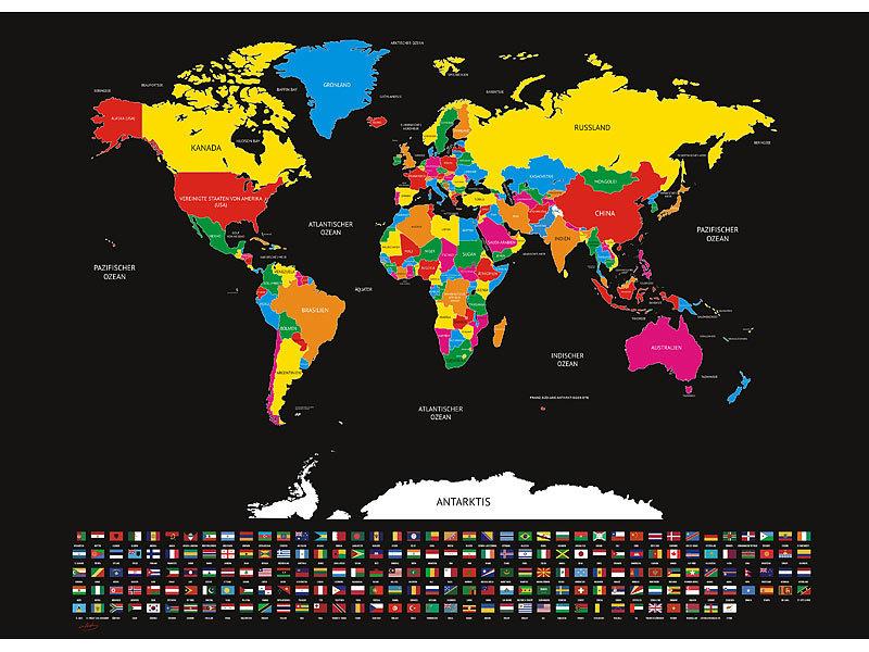 infactory Rubbel Weltkarte 82 x 59 cm XXL-Weltkarte mit L/ändern und Flaggen zum Freirubbeln Weltkarte Leinwand