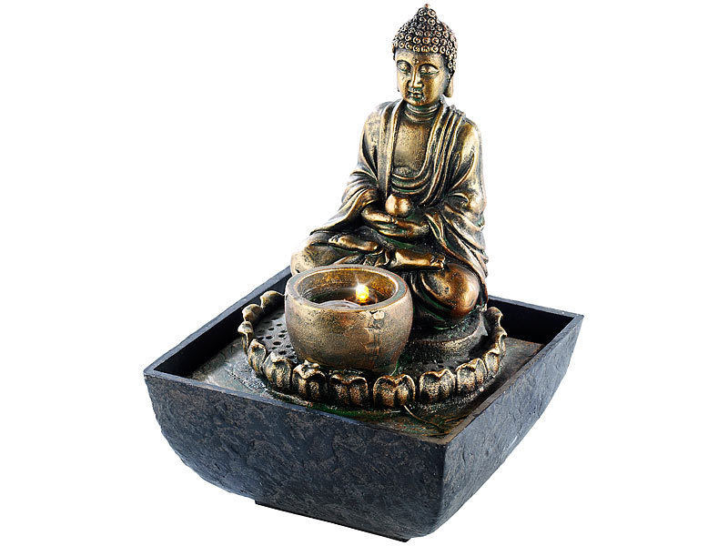 infactory wasserbrunnen beleuchteter zimmerbrunnen mit buddha zimmerbrunnen mit led. Black Bedroom Furniture Sets. Home Design Ideas