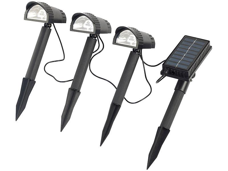 lunartec solar led wegespot 4 tlg mit 3 led strahlern solarmodul. Black Bedroom Furniture Sets. Home Design Ideas