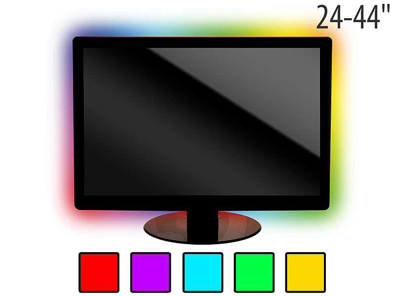 lunartec tv hintergrundbeleuchtung lt 96c 4 leisten usb multicolor 24 44. Black Bedroom Furniture Sets. Home Design Ideas