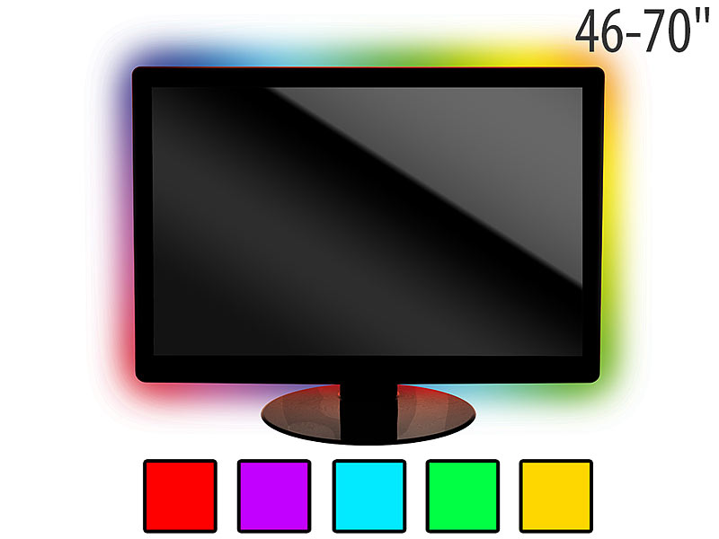 lunartec led tv tv hintergrundbeleuchtung lt 184c 4 leisten usb multicolor 46 70 tv. Black Bedroom Furniture Sets. Home Design Ideas