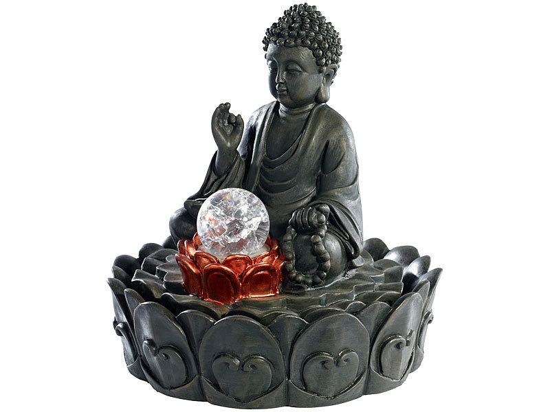 infactory beleuchteter zimmerbrunnen lotus buddha mit. Black Bedroom Furniture Sets. Home Design Ideas