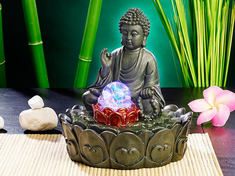infactory beleuchteter zimmerbrunnen lotus buddha mit. Black Bedroom Furniture Sets. Home Design Ideas