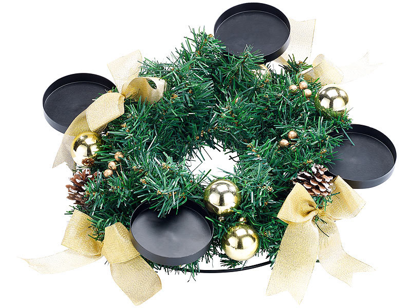 britesta adventskranz modern adventskranz mit goldfarbenem schmuck 30 cm. Black Bedroom Furniture Sets. Home Design Ideas