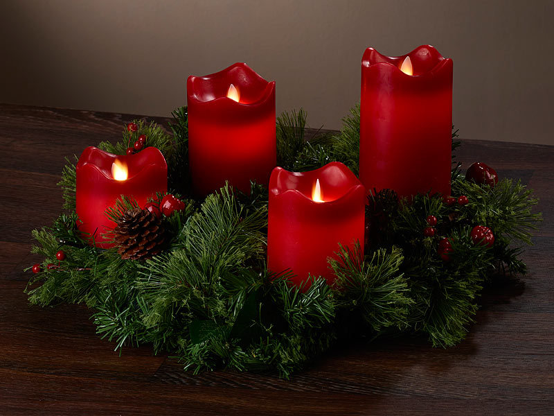 britesta adventskranz rot 4 rote led kerzen mit bewegter flamme. Black Bedroom Furniture Sets. Home Design Ideas