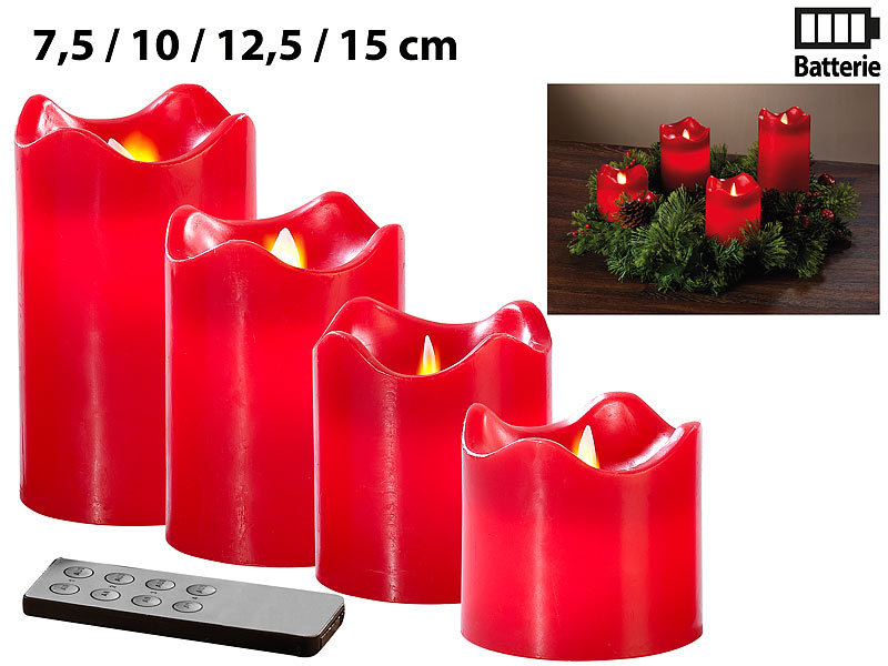 britesta 4 echtwachskerzen mit beweglicher led flamme abgestuft rot. Black Bedroom Furniture Sets. Home Design Ideas