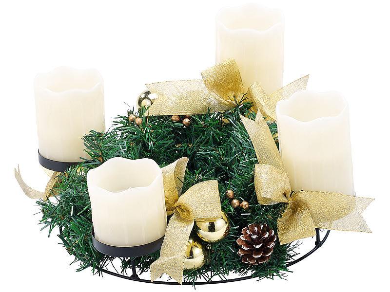 britesta weihnachtsgesteck kr nze adventskranz mit wei en led kerzen goldfarben geschm ckt. Black Bedroom Furniture Sets. Home Design Ideas