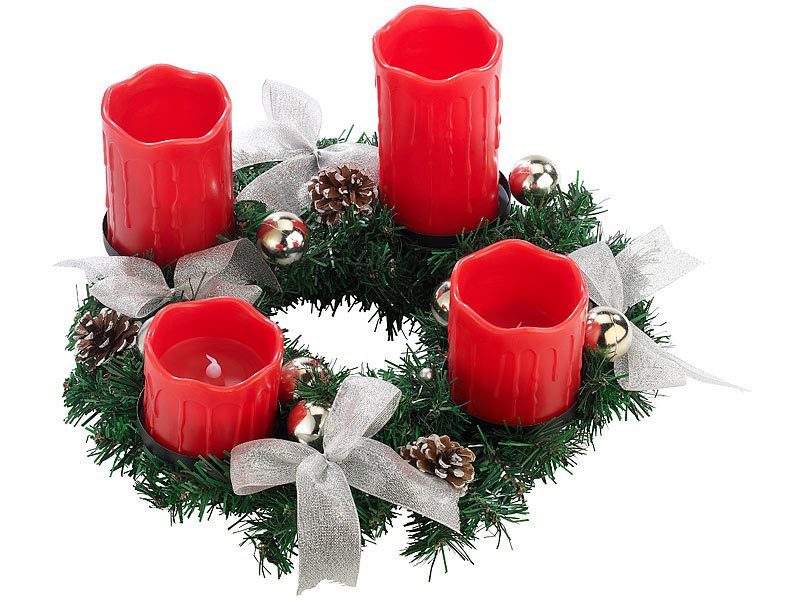 britesta weihnachtsgesteck kr nze adventskranz mit roten led kerzen silbern geschm ckt. Black Bedroom Furniture Sets. Home Design Ideas