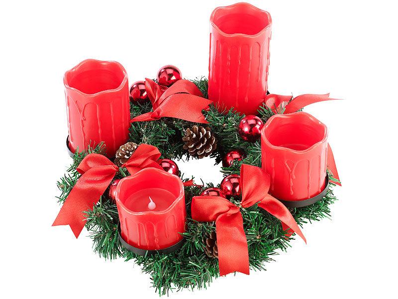 britesta adventsdeko kerzen kranz adventskranz mit roten led kerzen rot geschm ckt adventkranz. Black Bedroom Furniture Sets. Home Design Ideas