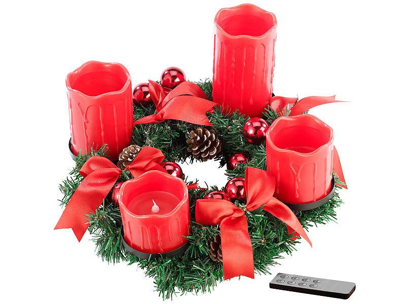 britesta dekokranz adventskranz mit roten led kerzen rot. Black Bedroom Furniture Sets. Home Design Ideas
