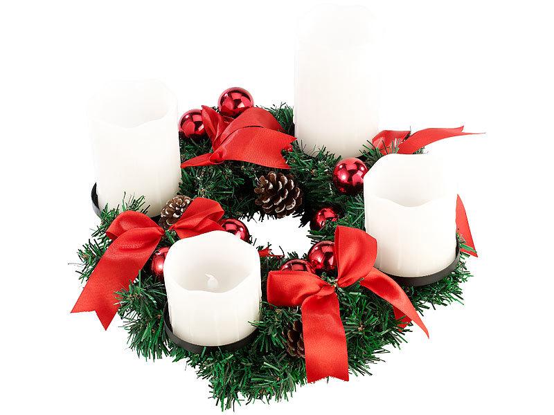 britesta tischdekoration adventskranz mit wei en led kerzen rot geschm ckt weihnachtskranz. Black Bedroom Furniture Sets. Home Design Ideas