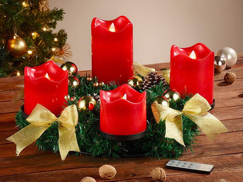 britesta k nstlicher adventskranz adventskranz golden 4 rote led kerzen mit bewegter flamme. Black Bedroom Furniture Sets. Home Design Ideas