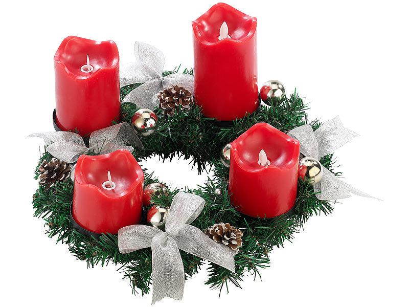 britesta adventskranz silbern 4 rote led kerzen mit bewegter flamme. Black Bedroom Furniture Sets. Home Design Ideas