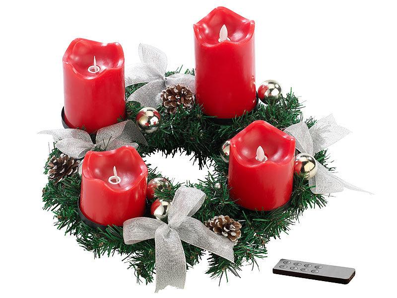britesta tannenkranz adventskranz silbern 4 rote led kerzen mit bewegter flamme weihnachtskranz. Black Bedroom Furniture Sets. Home Design Ideas