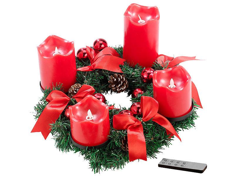britesta adventsgestecke adventskranz rot 4 rote led kerzen mit bewegter flamme weihnachtskranz. Black Bedroom Furniture Sets. Home Design Ideas