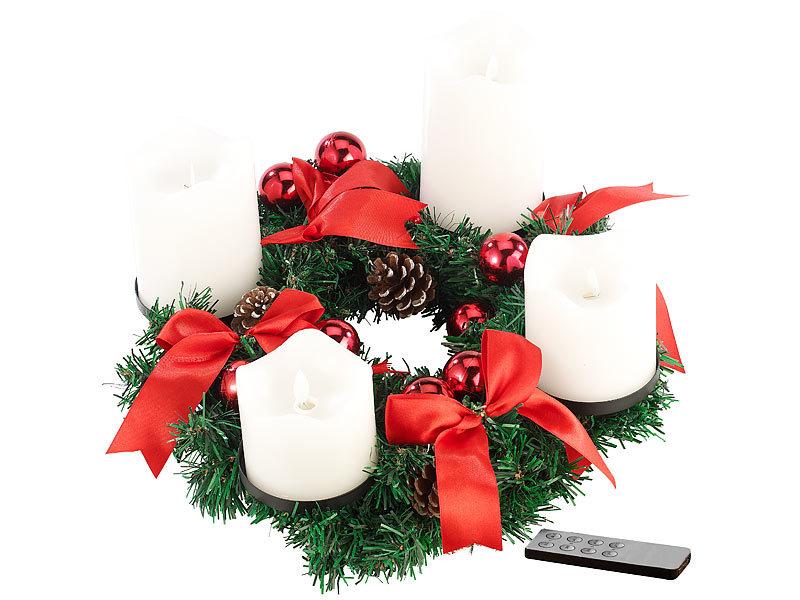 britesta adventkranz adventskranz rot 4 wei e led kerzen mit bewegter flamme. Black Bedroom Furniture Sets. Home Design Ideas