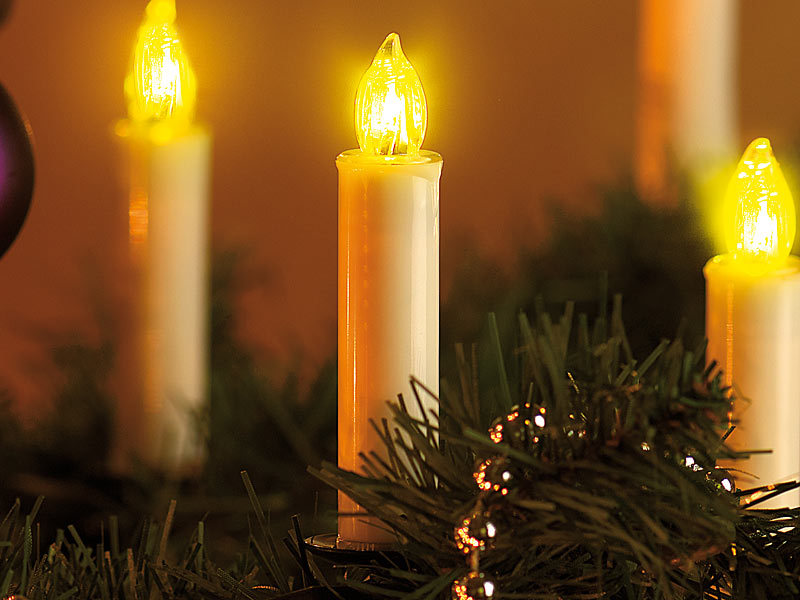 Lunartec funkkerzen led weihnachtsbaumkerzen mit funk fernbedienung 20er set led - Weihnachtsbeleuchtung led kabellos ...