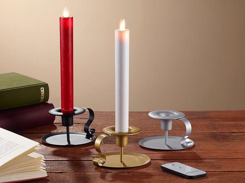 britesta led leuchterkerzen led stabkerze mit schwarzem kerzenhalter bewegliche flamme wei. Black Bedroom Furniture Sets. Home Design Ideas