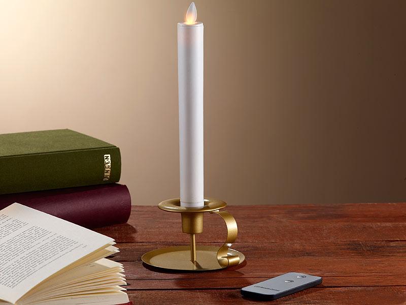 britesta tischkerzen led stabkerze mit goldenem. Black Bedroom Furniture Sets. Home Design Ideas