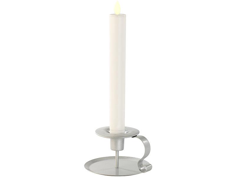 britesta led stabkerze mit silbernem kerzenhalter bewegliche flamme wei. Black Bedroom Furniture Sets. Home Design Ideas