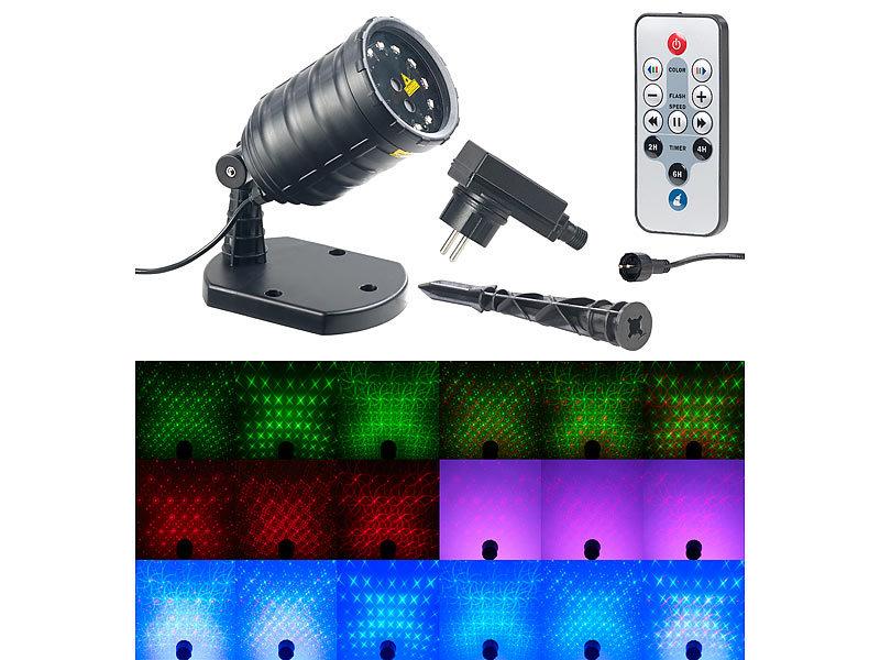 lunartec garten laser laser projektor mit 12 leds 8 licht effekte timer fernbed ip65. Black Bedroom Furniture Sets. Home Design Ideas