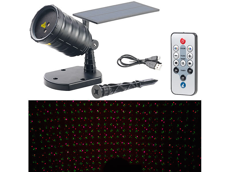 LED Projektor: Lunartec Solar Laser Projektor Mit Akku,  Sternenregen Lichteffekt,